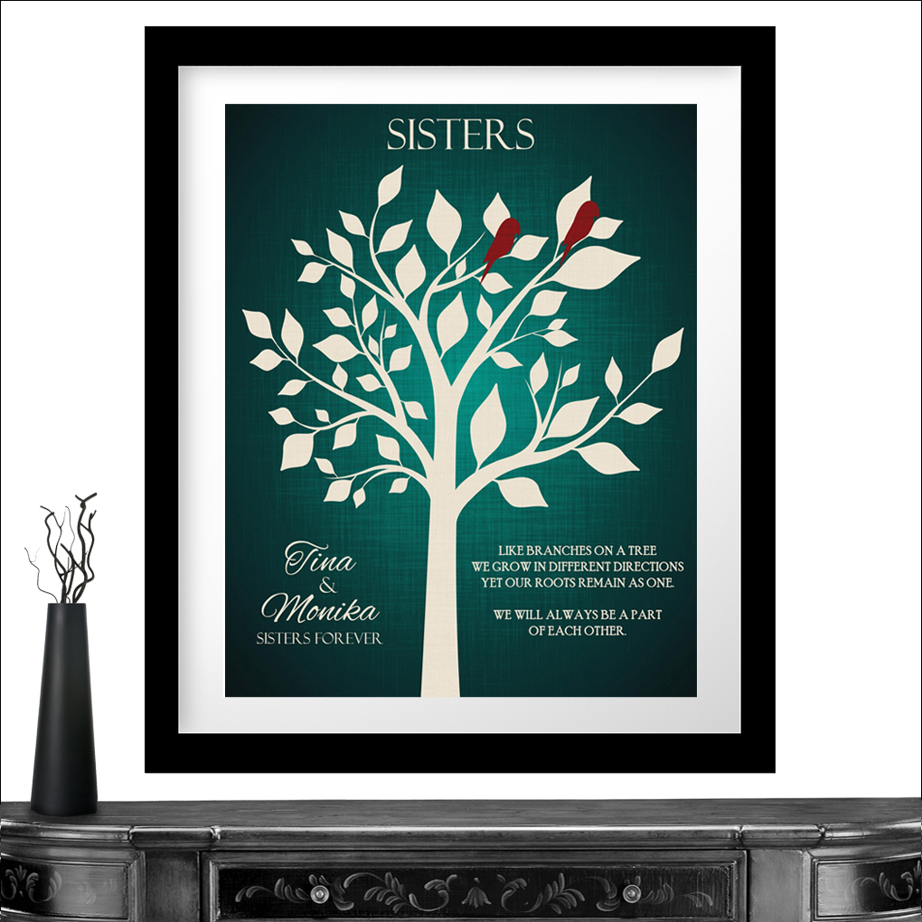 personalized gift for sister of bride sisters forever bright green