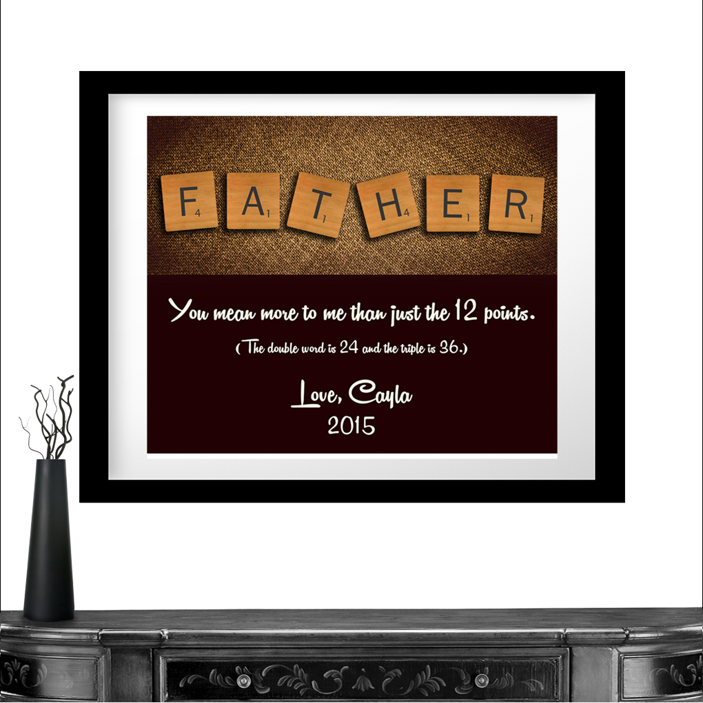 personalized gift for father scrabble letters custom art unique gift