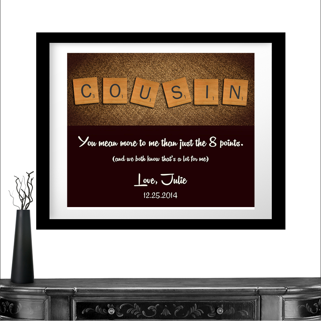 Personalized Gift For Cousin Scrabble Tile Letters Gift Thank You