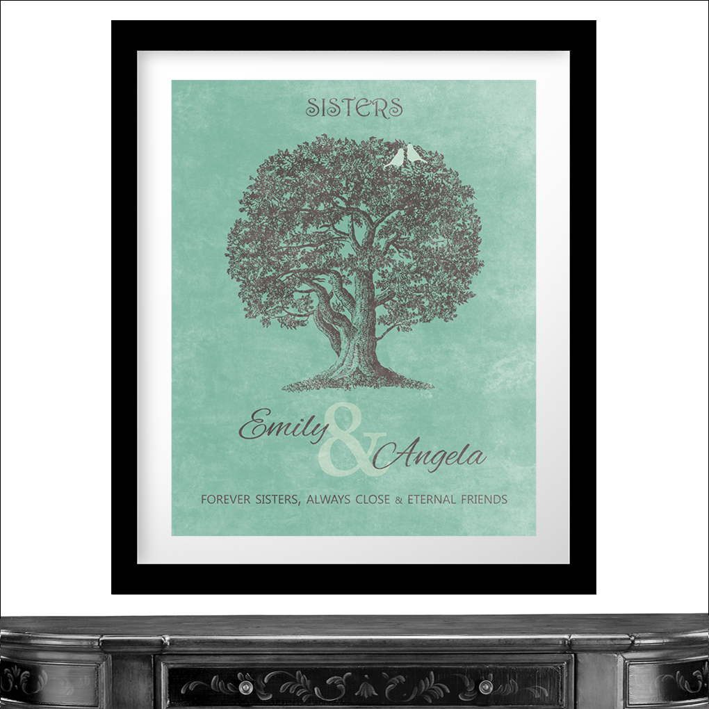 Unique Wedding Gifts For Close Friends : Personalized Gift For Sister Oak Tree Forever Sisters Always Close ...