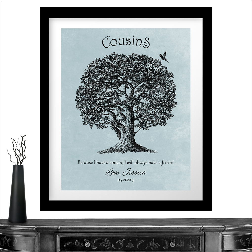 Personalized Gift For Cousin Oak Tree Hummingbird Because I Have A