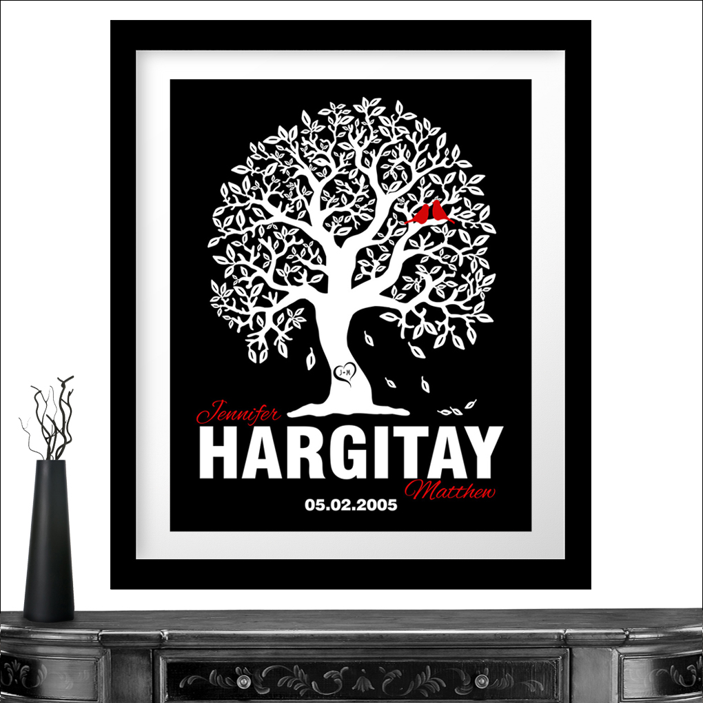 personalized gift for couple family tree anniversary gift tenth