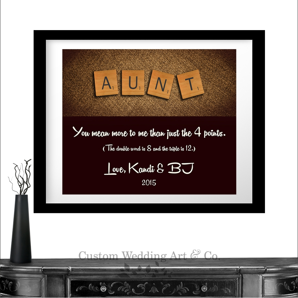 Special Wedding Gift For Niece : Personalized Gift For Aunt Scrabble Letters Custom Art Gift From Niece ...